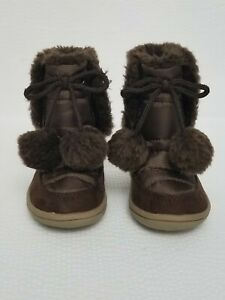Faded Glory Brown Pom Pom Pommy Snow Boots Toddler Girls Size 3 M