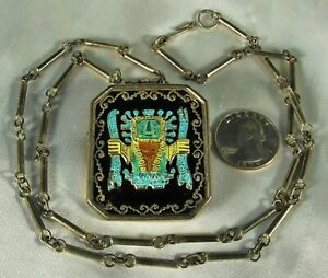 "Mid Century INCA VIRACOCHA GOD Pendant Pin Necklace 18k & 925 STERLING Peru 28"""