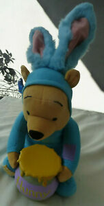 """LN Vtg Applause 16"""" Talking Winnie The Pooh Easter Bunny with Hunny Pot Plush"""