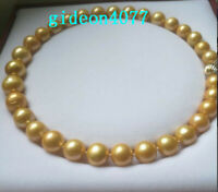 "AAA++ 18"" 12-15M REAL NATURAL SOUTH SEA GOLD ROUND Edison PEARL NECKLACES 14k"
