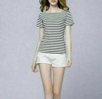 Women Slim Fit Short Sleeve Stripe T-Shirt Casual Shirts Tee Tops Blouse Black