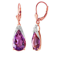 14 Ctw 14k Solid Rose Gold Leverback Earrings Briolette Amethyst