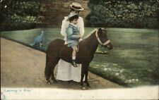 TUCK #1419 Animal Life - Boy Learning to Ride Pony c1910 Postcard