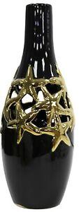 36cm Tall Ceramic Bottle Vase Flower Vase Gloss Black With Gold Stars