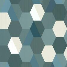 100106067 - Spaces Hexagons Blue Casadeco Wallpaper