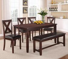 Crown Mark 2321 Clara Traditional Dark Brown Finish Dining Set w/Bench 6 Pcs