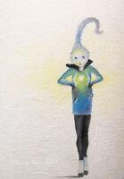 Original ACEO fine ART oil painting little surreal man figurative miniature