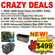 NEW 160W Solar Panel + NEW Battery Box + NEW MCA 120AH Battery