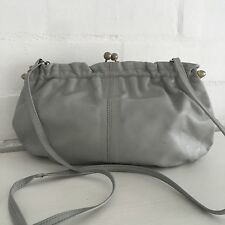 VINTAGE GREY Genuine LEATHER Handbag 80's Bag Club Cocktail