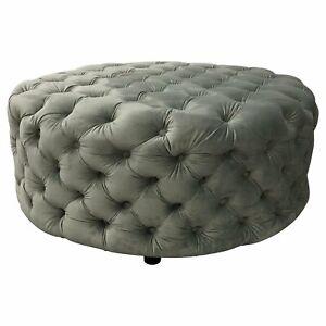 Round Grey velvet Ottoman Footstool Round Ottoman 93 x 93cm