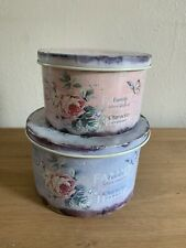 2 X Decorative Tins Rustic Shabby Chic Style Floral
