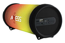 NEW Axess Vibrant Mini SPBL1043 HIFI Bluetooth Speaker w/ Disco LED Lights BLACK