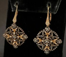 14K yellow gold 3.25CT White & Brown diamond flower cluster drop dangle earrings