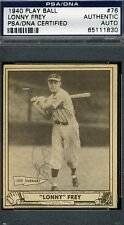 Lonny Frey Psa/dna Signed 1940 Play Ball Authentic Autograph