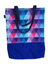 Einkaufstasche Dreiecke 32x42 cm Design blau rosa Tasche Geschenk