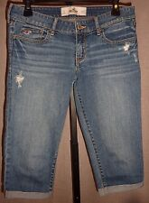 Hollister Destroyed Medium Wash Jean Bermuda/Capri Rolled Leg Pants Size 5/27