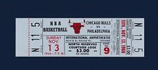 Chicago Bulls vs Philadelphia 76er's 1966 unused basketball ticket - Chamberlain