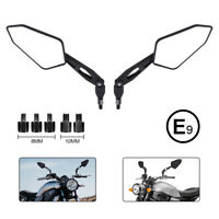 Paar E-geprüftes Universal Motorrad Spiegel M10 M8 Rückspiegel Schwarz E9