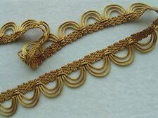 "1 3/8"" GOLD Rattail Scallop Braid Gimp Fringe Trim Lampshades Craft ~ PER YARD"