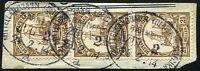 03/Deutsch-Ostafrika 1914 Bahnpost Mittellandbahn Zug 2a Briefstück 3er-Streifen