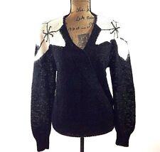 NORDSTROM White Black Sweater Town Square Linen Bl Fluffy Shoulder Christmas VTG
