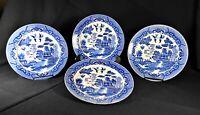 4 Dinner Plates - Blue Willow w/ Love Birds - Vintage Japanese Porcelain