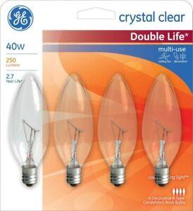 4- GE 40 Watt B10 Candelabra Base Clear Light Bulbs Blunt tip E12 Chandelier