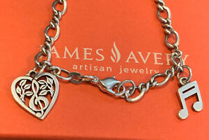 James avery 7.25 twist Bracelet W/ 2 Music Charms (Retired Heart) 925SS GIFTBOX