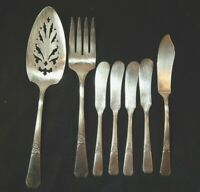 Wm. Rogers Rio Oneida Silver Plate Flatware 7 pc Butter Knives, Pieced Cake Fork