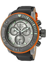 New Mens Invicta 10714 Sea Hunter Swiss Chronograph Black Leather Watch