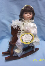 "1998 Collectible Porcelain Doll 14"" on Rocking Horse by Crowne Collectors Doll"