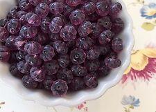 Vintage Amethyst Beads,Glass Melon Beads,6x8mm czech Flower Spacers NOS #739A