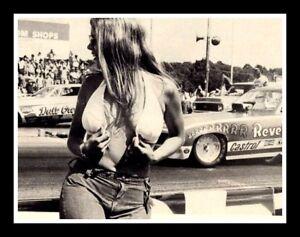 "3"" NHRA sticker. Busty untied bikini top blond girl, black & white , NASCAR, pin"