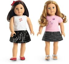 💕Two American Girl Doll Outfits Pale Pink &Tweed & Sequined Skirt GIFT BOX 💕