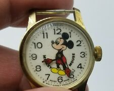 Bradley Mickey Mouse Gold Tone Vintage Wind-up Wrist Watch Swiss Made Disney