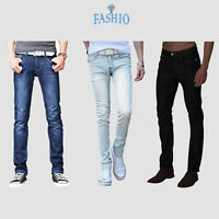 Mens Casual Fashion Skinny Slim Fit Denim Jeans Pants Trousers