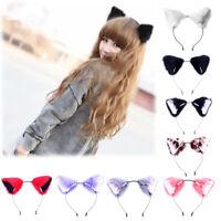 Cute 1PC Girl Cosplay Headband Party Costume Fur Fox Cat Ears Women