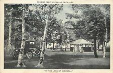 Escanaba Michigan~Tourist Camp~Kids by Shelter House~Vintage Car~1937 B&W PC
