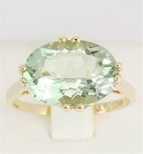 Real 5.35ct Green Amethyst 9ct 9K Solid Gold Ring - SZ M/6.5 - 30 Days Refund
