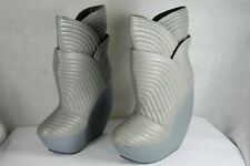 UNITED NUDE 'TULIP' SKY HIGH WEDGE QUILTED LEATHER GRAY BOOTS EU 40 US 10