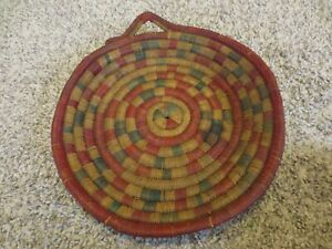 """Vintage Grass Hand Woven Flare Coil Bowl Basket Platter Green Red w handle 15"""""""