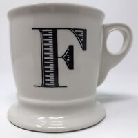 Anthropologie F Monogram Initial Letter Coffee Mug Cup Shaving Stone