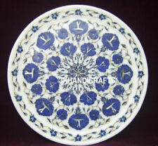 """12"""" Marble Round Plate Lapis Lazuli Inlay Floral Arts Marquetry Kitchen Decor"""