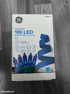 GE Electric 100 LED Blue Mini Christmas Tree Lights Green Wire Indoor/Outdoor