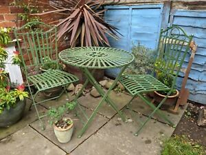 Outdoor Patio Garden set Table & 2 Chairs -  Industrial Green Furniture