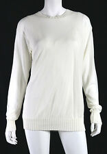 THE ROW $1,450 NWT White Cotton Overlay Knit LEAT Long Sleeve Top M