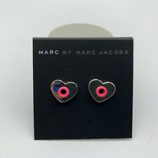 MARC JACOBS EARRINGS! Hole Hearted Studs in SILVER/PINK! NWT/Dustbag :)