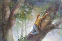 """Hand Painted Signed Oil Painting on Canvas 24""""x 36"""" Summer Day in a Tree"""