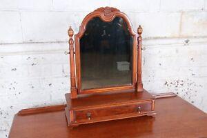 Landstrom Furniture French Carved Burled Walnut Dresser Top Swing Mirror