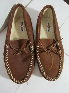 Minnetonka Mens Brown Suede Moccasin Slippers Soft Fur Lined  Leather 12